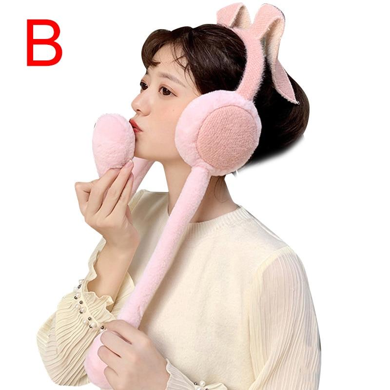 Cute Women Earmuffs Warm Can Move Airbags Cap Plush Dance Rabbit Ear Autumn Winter AIC88