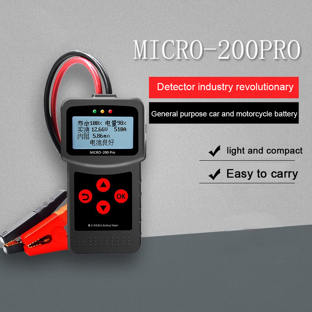 MICRO-200 PRO Car Battery Tester 12V 24V AGM EFB Gel Battery System Analyzer Truck Motorcycle Automotive Car Diagnostic Tool