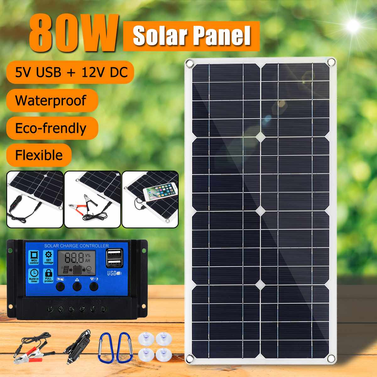 New 80W 18V Monocrystaline EVA+PET Solar Panel Dual 12V/5V DC USB Charger with 10A 12V/24V PWM Controller Kit For Car RV Boat|Solar Cells| |  - title=