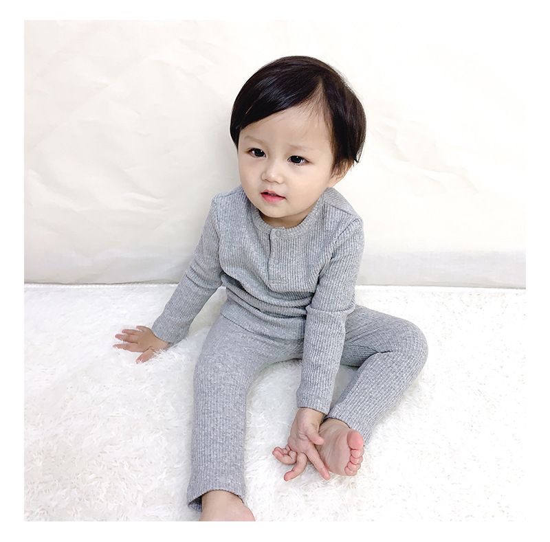 Soft Ribbed Toddler Girl Pajamas For Baby Boys Clothes Set Autumn Winter Children Outfits Long Sleeve Tops Pants 2 Pcs Kids Suit (9)