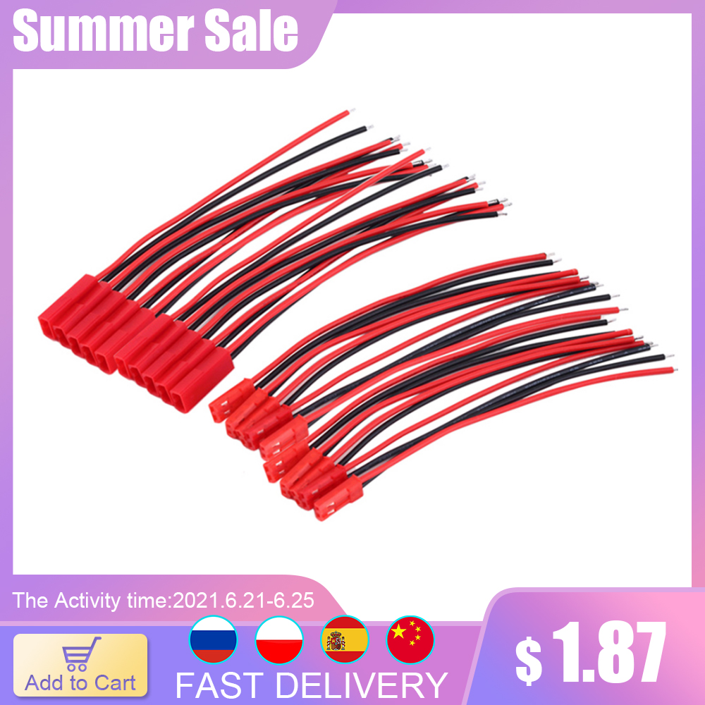 20pcs New 2 Pin Connector Male Female JST Plug Cable 22 AWG Wire For RC Battery Helicopter DIY LED Lights Decoration