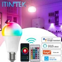 Tuya WiFi Smart LED Glühbirne E27 RGBCW Lampe Dimmbar mit Smart Leben APP Voice Control 10W 15W 18W Arbeit mit Google Home Alexa