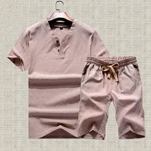 Summer Cotton Linen Tracksuit Men Short Sleeve T-shirts Suit Trainer Bodybuilding Two Piece Set Casual Fitness Clothing Suits(China)