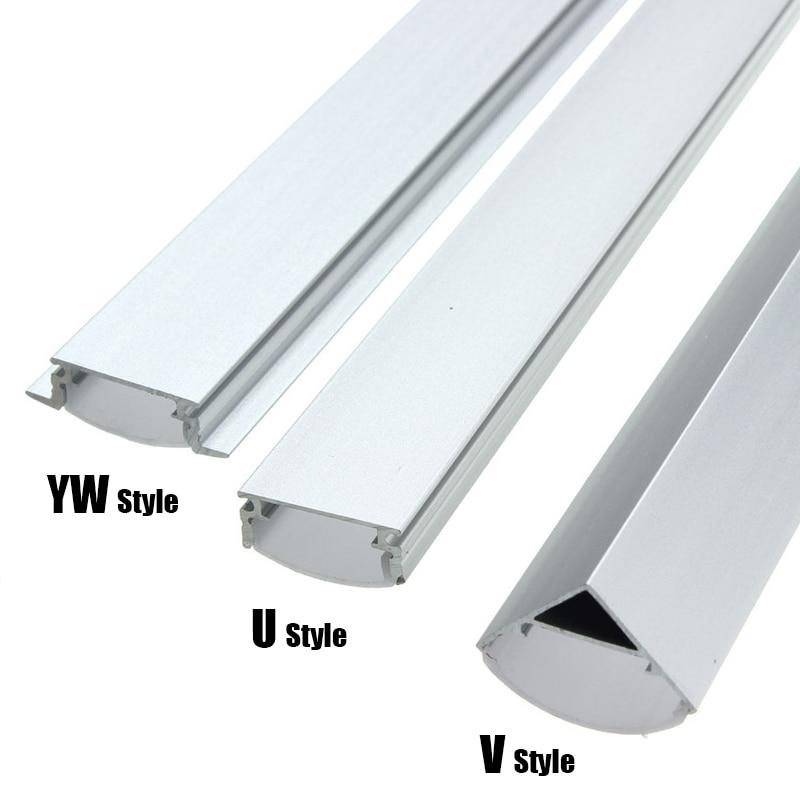 30/45/50cm U/V/YW Style Shaped LED Bar Lights Aluminum Channel Holder Milk Cover End Up for LED Strip Light Accessories car
