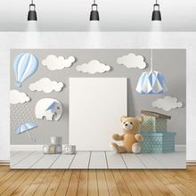 Laeacco Birthday Photocall Clouds Hot Air Balloons Bear Gifts Light Photography Backdrops Backgrounds Baby Room Decor Photozone