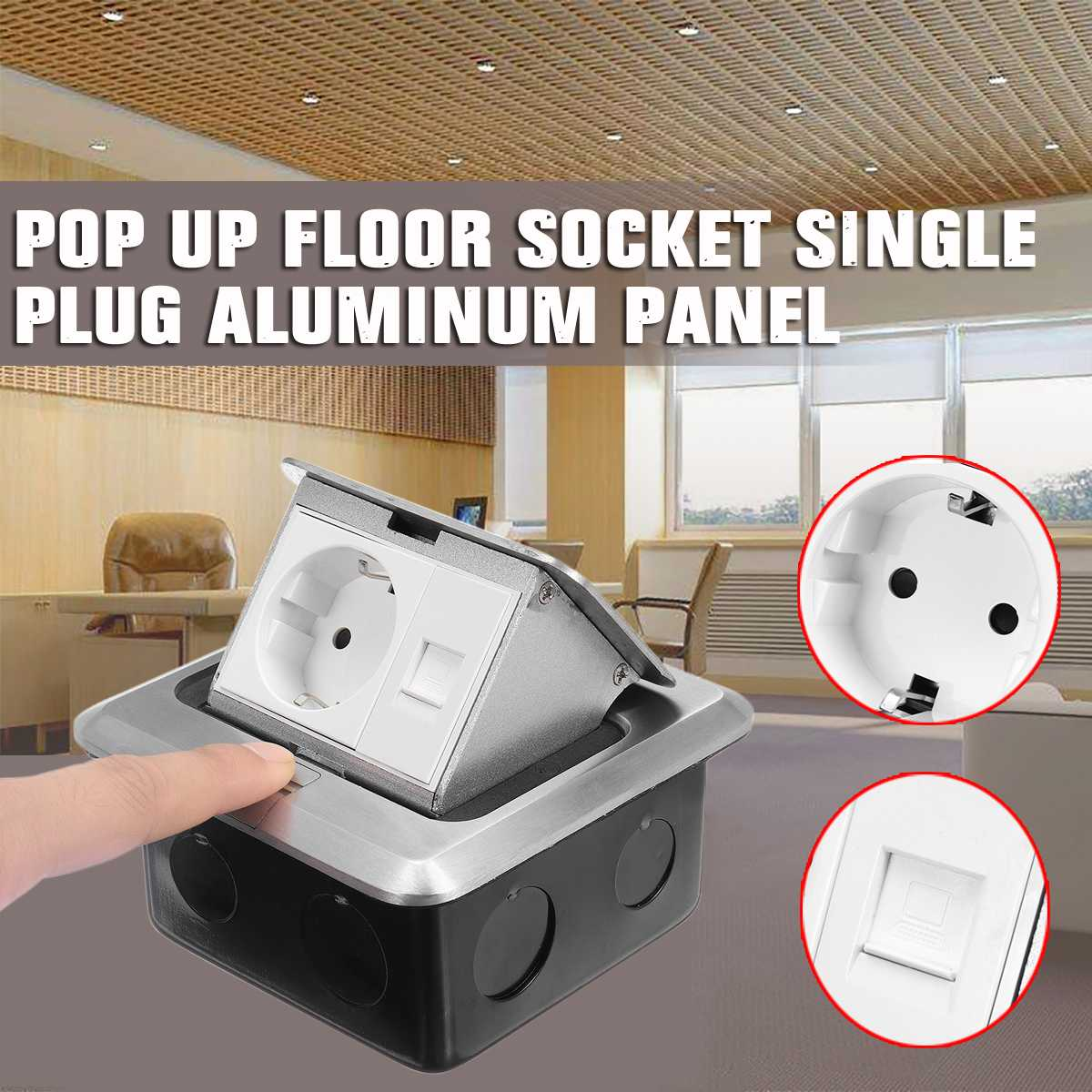 SWILET Aluminum Silver Panel Pop-Up EU Standard Socket + Universal Floor Socket Power Outlet Meeting Room Hotel Steel Box Outlet