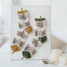 Female Socks Spring Transparent Embroidery Cute Girl Summer Women Cotton Fashion Glass