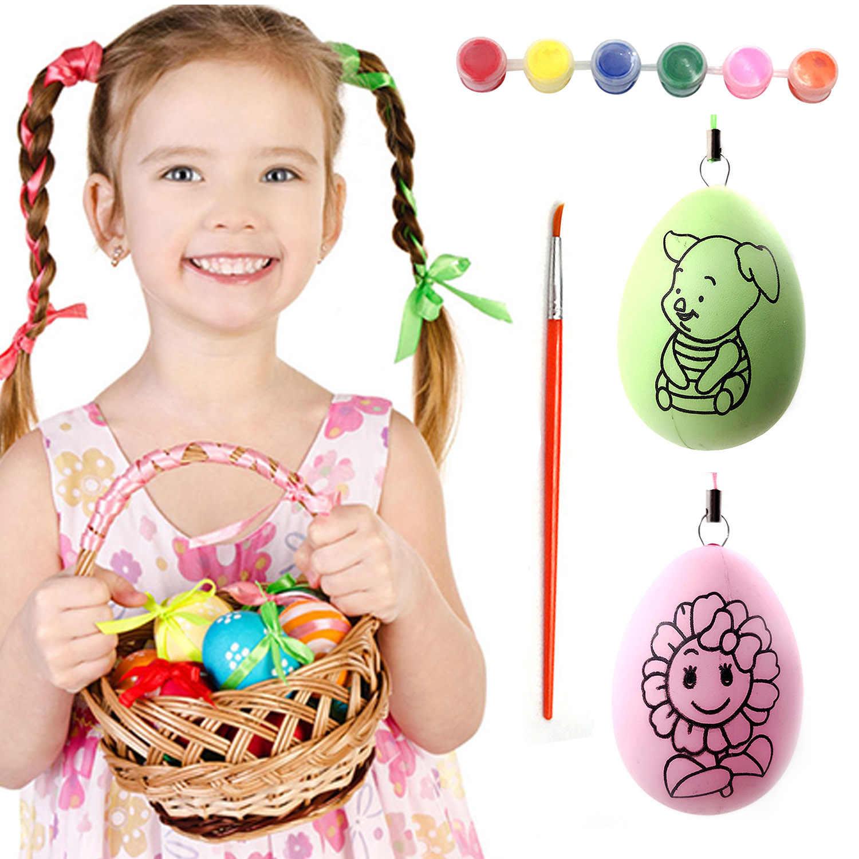 5 pçs diy pintura de plástico ovos falsos com 6-color paint 1 pincel de pintura para decorações do dia de páscoa crianças diy artesanato padrões aleatórios