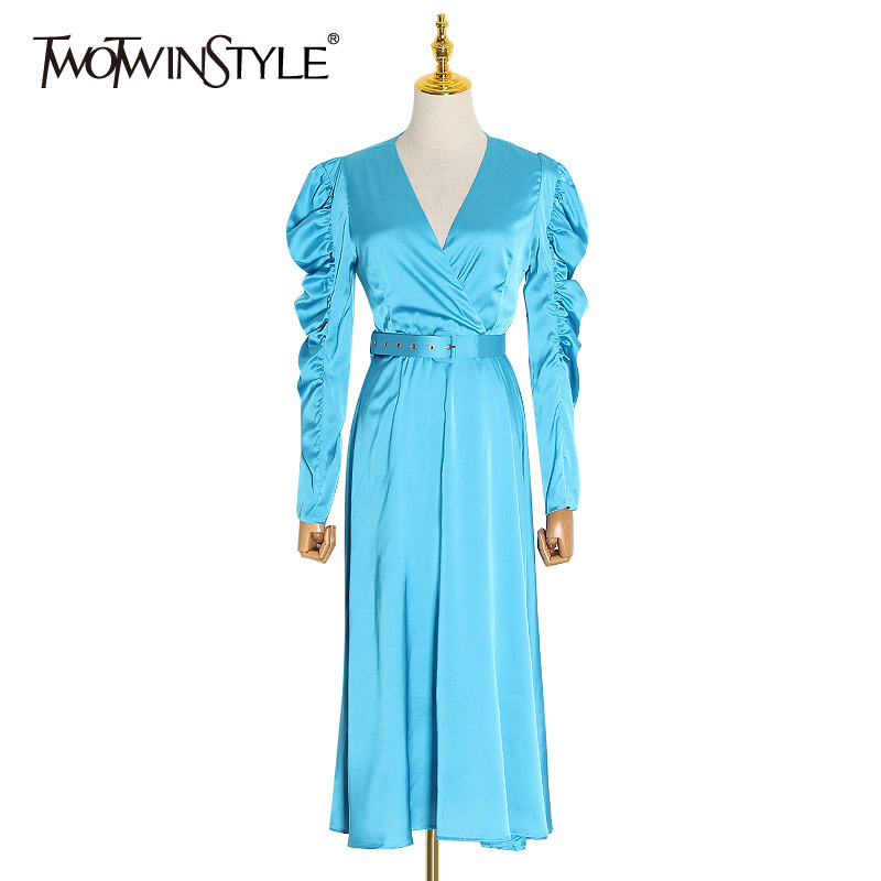 TWOTWINSTYLE Sexy Party Women Dress V Neck Puff Long Sleeve High Waist With Sashes Long Ruched Dresses Female Fashion Clothing