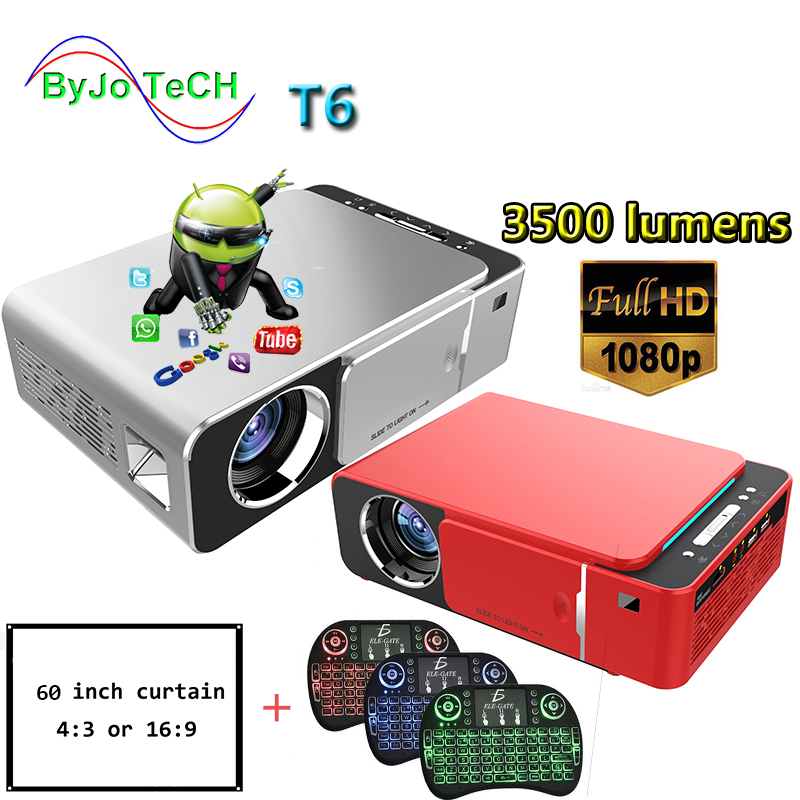 ByJoTeCH T6 1080P LED Projector 3500 lumens 1280x720  Portable projector Android 7.1  Home Theater WIFI 2.4G5G 60 inch screen Проектор