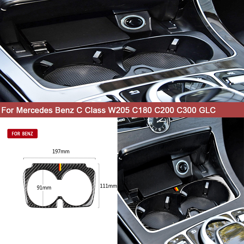 For Mercedes Benz C Class W205 C180 <font><b>C200</b></font> C300 GLC Auto Accessories Water Cup Holder Frame Trim <font><b>Sticker</b></font> Upgrade Car Styling image