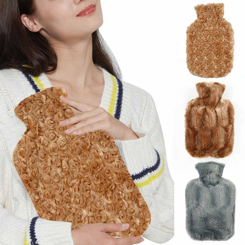 Luxury Faux Fur Hot Water Bottle with Cover Winter Portable Outdoor Hand Warmer Water-filled Bottles Warming Product Friend Gift
