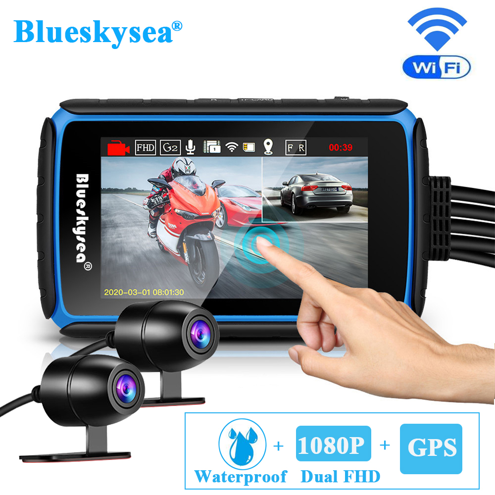 Blueskysea-Cámara de salpicadero DV988 para motocicleta, GPS, WiFi, pantalla táctil, lente Dual de 1080P, grabación de bicicleta, DVR, impermeable
