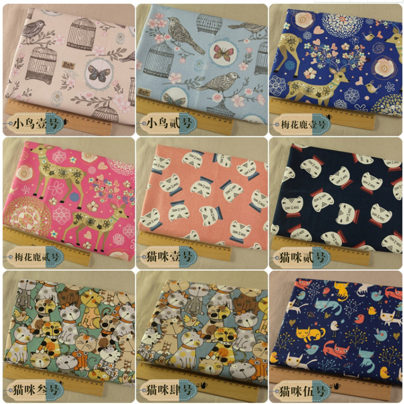 145cm Breadth High Quality Cotton 12 - Inch Canvas Fabric Printed In Birds Flower And Owl