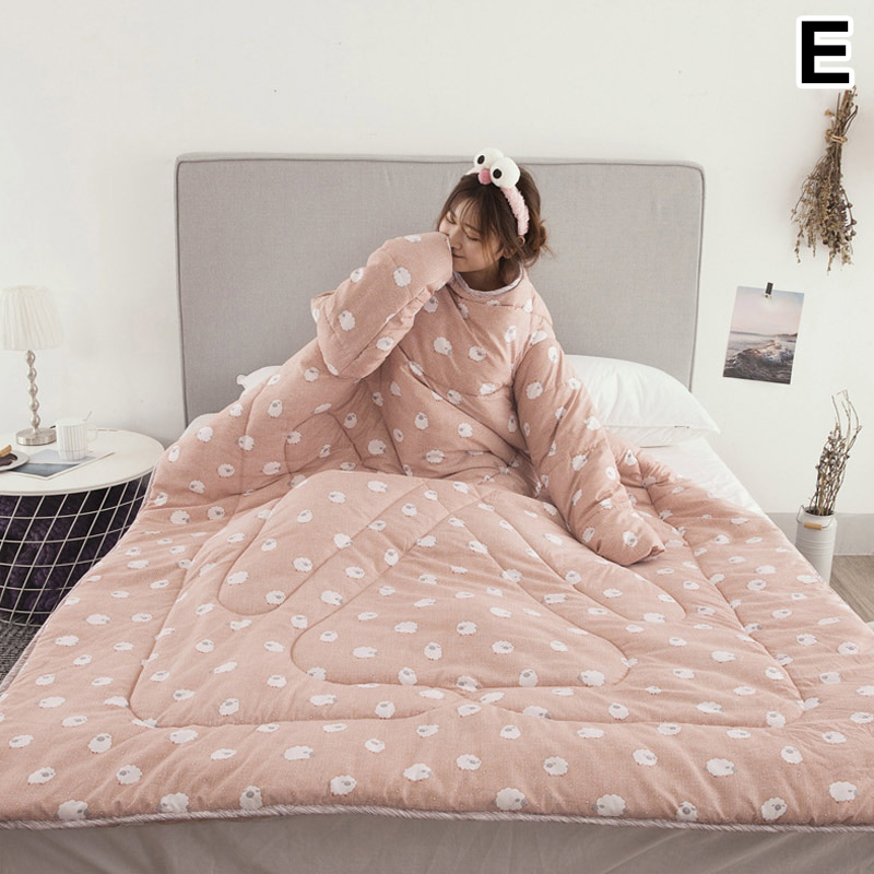 1 Pcs Lazy Quilt With Sleeves Warm Thicken Blanket Multifunction For Home Winter Nap