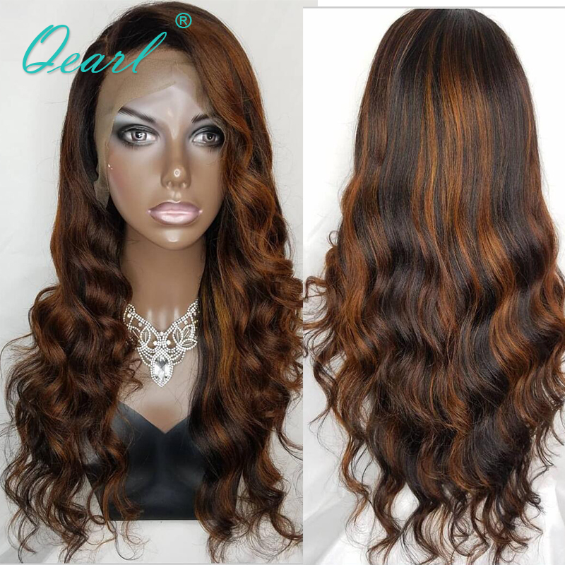 Deep Side Parting Lace Front Wig Ombre Highlights Color 1b/33 Human Hair Wigs Peruvian Remy Wavy 13x4/13x6 130% 150% Qearl