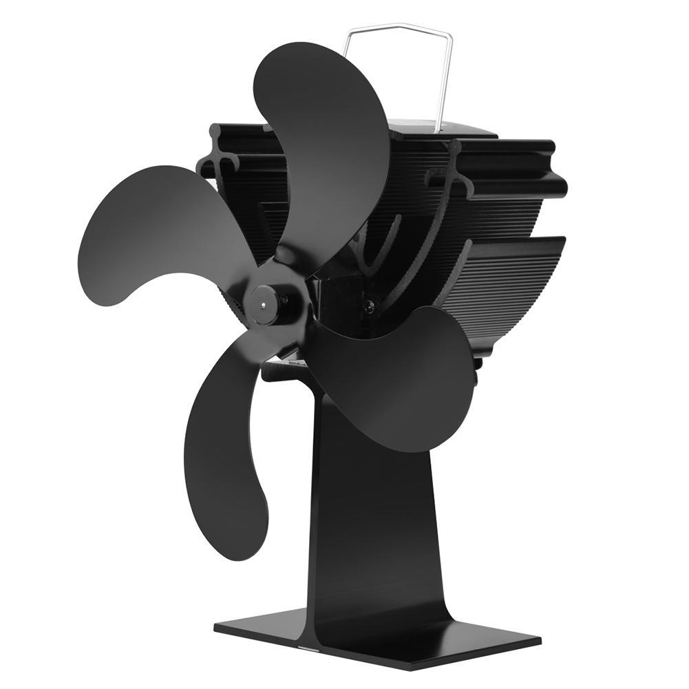 New Style 4 Blades Heat Powered Stove Fan Log Wood Burner Ecofan Quiet Black Home Fireplace Fan Efficient Heat Distribution