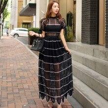 Summer Short Sleeve Big Swing Over Sized Black Long Dress Hollow Out Vintage Dress Women Streetwear Elegant Dress Plus Size Robe black swing long sleeve dress