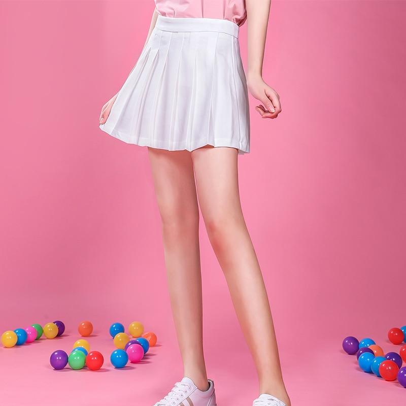 Jittebug Cheerleading White Black Mini Skirt High Street Sweet Japanese School Uniform Short Pleated Skirts With Safety Pant