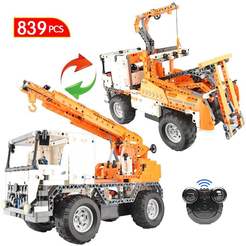839 pièces Ville D'ingénierie RC Camion Voiture Blocs De Construction Legoing Technique Télécommande Grue Briques Jouets pour Enfants Garçon Filles