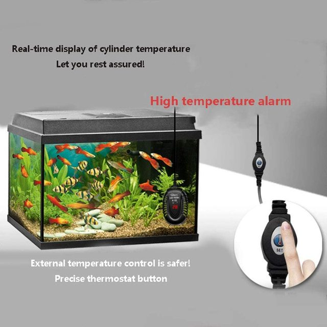 Submersible Aquarium Heater with LED Display Fish Tank Digital Water Heating Rod Temperature Controller 25W/50W/75W/100W 6