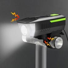 Campana de bicicleta + luz electrónica bicicleta manillar anillo cuerno led linterna fuerte alarma de aire sonido H010