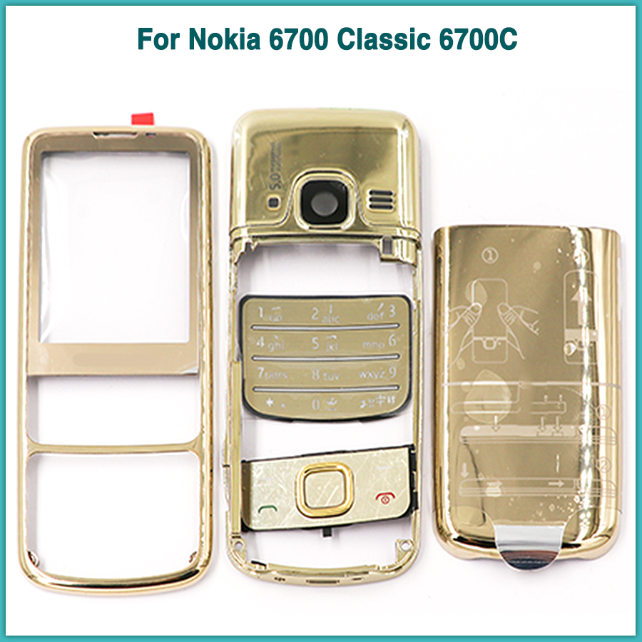 New Rear <font><b>6700</b></font> Full <font><b>Housing</b></font> case For <font><b>Nokia</b></font> <font><b>6700</b></font> Classic 6700C Battery back Cover Door + Front frame metal Middle Frame Plastic image