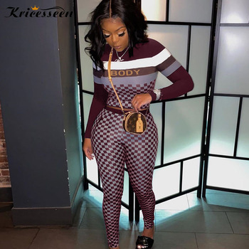 Kricesseen Casual Plaid Print Two Pieces Pant Set Women Letter Top And Biker Long Pants Suits 2 Pieces Outfits Matching Set 1