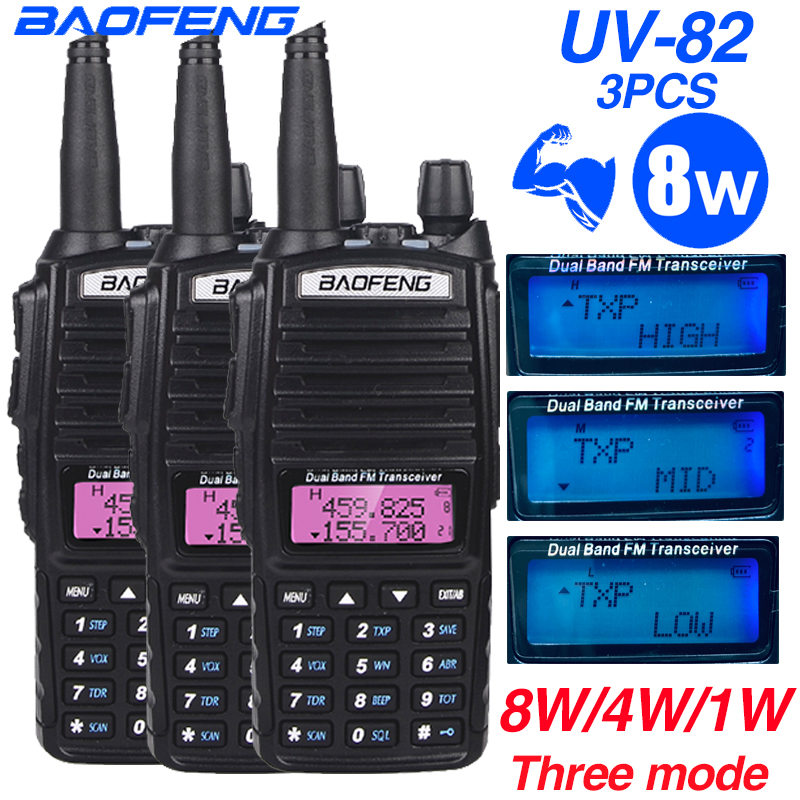 3PCS 8W Baofeng UV 82 Walkie Talkie VHF UHF Transceiver UV82 CB Ham Radio Dual Band 136-174/400-520MHz  Hunting Two Way Radio