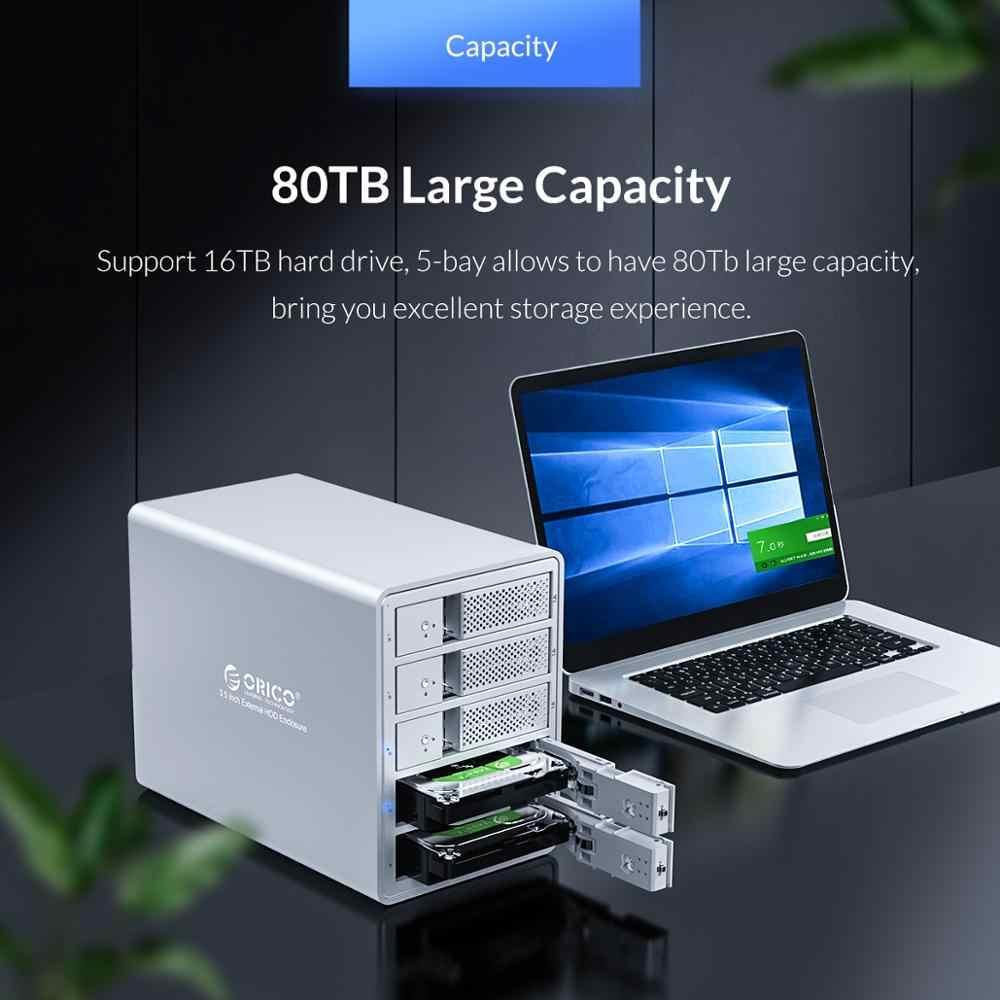 ORICO 95 סדרת 5 מפרץ 3.5 ''SATA כדי USB3.0 HDD עגינה תחנת תמיכה 80TB UASP להוסיף 150W כוח פנימי אלומיניום SSD HDD מקרה