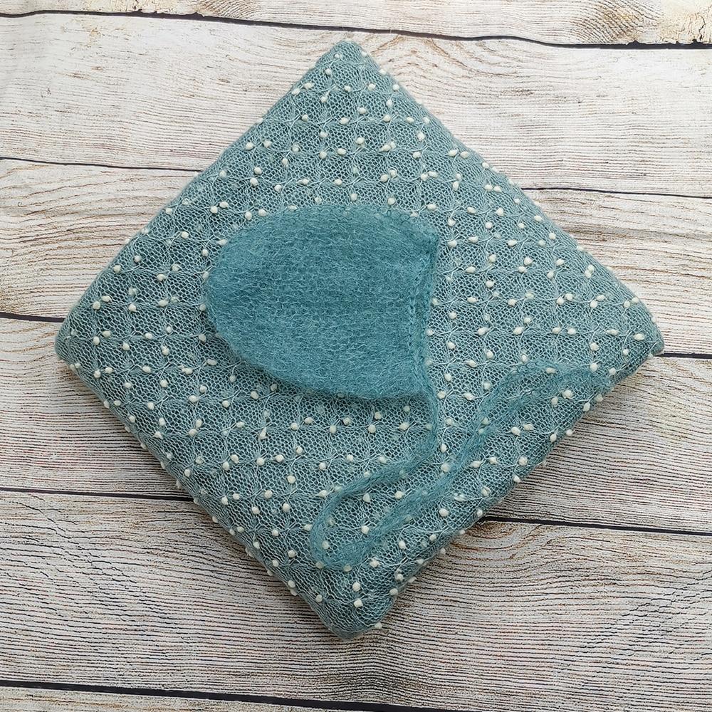Knit Bobble Wraps+Hair Accessories Mohair Hat Baby  Handcraft Hand Kids Knit Bonnet Crochet Knit  For Newborn Photography Props