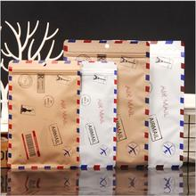 100pcs New Kraft Paper Zip Lock Bag White Brown Color Envelope Pattern Storage Bag Stockings Mask Aluminum film Bag