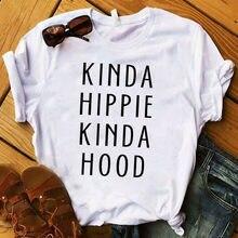 Kadın bayan T Shirt tür hippi tür kaput harfler baskılı Tshirt bayanlar Tee gömlek kadın üstleri giysi grafik T-shirt