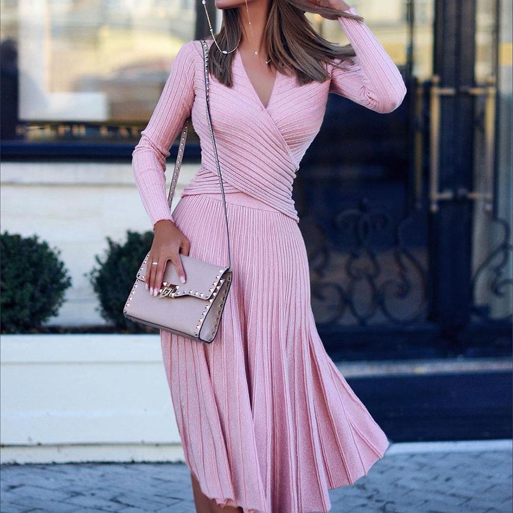 Модное дизайнерское Плиссированное вязаное платье, элегантный женский свитер, зимние платья, пуловеры черного цвета с длинным рукавом, Осеннее миди Vestido, 2019|Платья|   | АлиЭкспресс