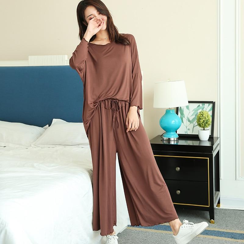 PLUS Size Home Suits Women Autumn New Loose Long-sleeved Pajamas Two-piece Set Nine-point Wide Leg Pants Pijama Sleepwear Femme