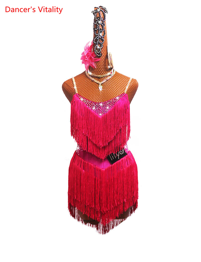 Custom Made Latin Dance Competition Costumes Performance Clothing Sasa Dance High Slit Tassel Skirt Flash Diamond Rose Red
