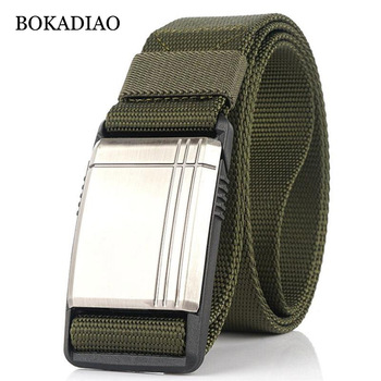 BOKADIAO Military Army Combat man's Canvas Belt Magnetic Metal buckle Tactical Belts for Men Nylon Training Waistband male strap