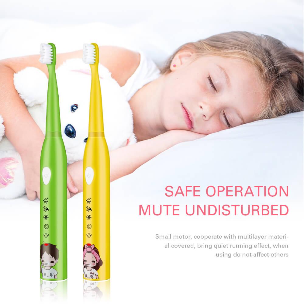 5 modu çocuk otomatik elektrikli diş fırçası USB şarj edilebilir karikatür IPX7 su geçirmez ultrasonik diş fırçası 4 fırça kafası