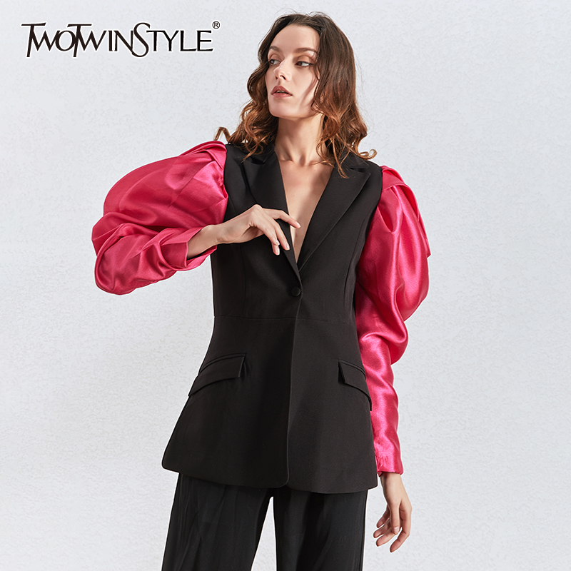 TWOTWINSTYLE Patchwork Hit Color Women Blazer Puff Long Sleeve Notched Female Blazers 2020 Spring Plus Size Fashion New Clothing