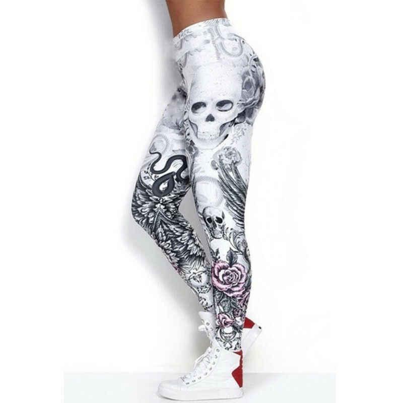 Goocheer ใหม่ Leggings ผู้หญิง Skull หัว 3D พิมพ์ Camouflage Legging Leggins ยืดหยุ่นบาง PLUS ขนาดกางเกง Legins