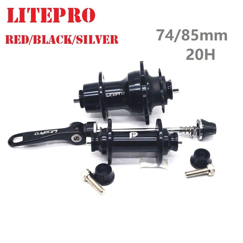 LITEPRO 74mm 85mm 20 Hole V Brake Hubs 14/16 inch Folding Bicycle FRONT REAR HUBSET 9T Freewheel Black/Silver/Red(China)
