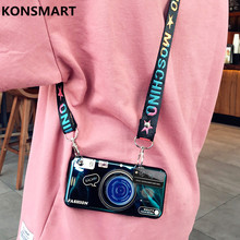 ghftty розовый 4t KONSMART Honor Play 4T Case Retro Camera Silicon Stand Phonecase For Huawei Honor Play 4T Pro Fashion Soft Back Cover With Strap
