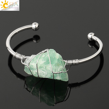 CSJA Natural Stone Bangle Gold-color Wire Wrap Irregular Crystal Quartz Cuff Copper Bracelets for Women Girls Kids Jewelry G327 7