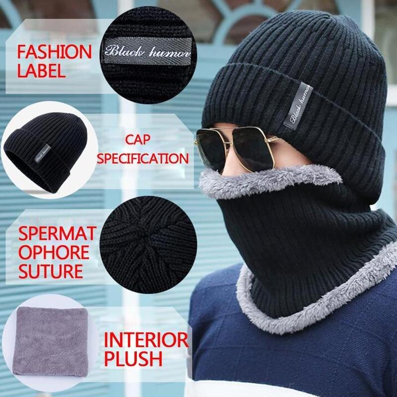 Мужская зимняя вязаная шапка шарф для улицы плюс бархатные наушники теплая шапка с капюшоном нагрудник холодный зимний, теплый, полосатый