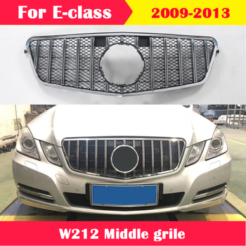 For Mercedes-Benz E-class W212 2009-2013 ABS plastic front grille Diamond GT AMG vertical bar Car styling Middle grille for mercedes benz gla x156 front grille silver abs gla45 amg gla180 gla200 gla250 without central logo front racing grille 14 16