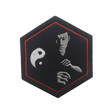 3D Patch Bordir Taiji Gambar Bruce Lee Bordir Stripe Cocok DIY Stripe Stiker Pakaian Denim Ransel Dekorasi Ikon(China)