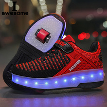 LED Light Up Shoes with Double Wheels Roller Sneakers for Kids Boys Size 28-40 USB Charging Skate Shoes for Children Boys Girls