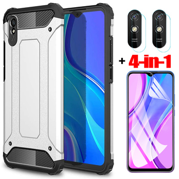 4-in-1, hydrogel film + case for redmi 9 a note 9 pro shockproof silicone phone cases redmi9 note9 9s cover xiaomi redmi 9a case