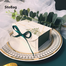 StoBag 20pcs Green/Red/Blue Gift Box Birthday Party Wedding Baby Shower Package Chocolate Cookies Cake Decoration With Ribbon