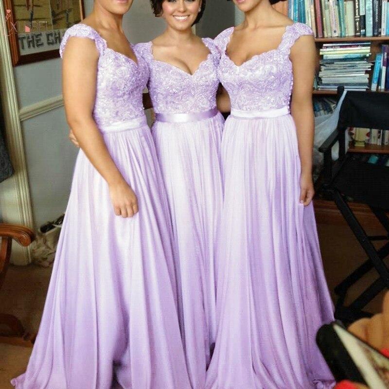 Lilac Long Bridesmaid Dresses 2019 Elegant A Line Sleeveless Wedding Party Guest Dress Lace Applique Bead Vestido Madrinha